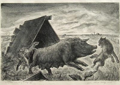 Coyotes Stealing Pig 1st Stone